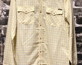 Vintage Genuine Roebucks Tall M Pearl Snap Yellow & Blue Plaid Shirt