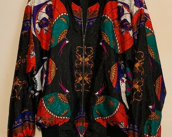 Vintage Butterfly Kaleidoscope Sun Moon Multicolor Satin Bomber Jacket S