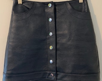 TOPSHOP Silver Snap Button Vegan Black Leather Mini Skirt 0