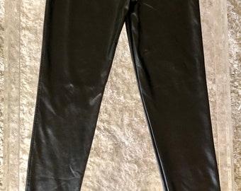 David Lerner Black Pleather Vegan Leather Leggings, XS