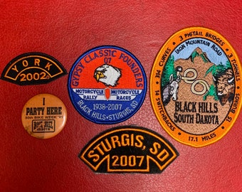 Lot of 5 Motorcycle Rally Patches Pin Iron Mountain Black Hills SD York Gypsy Classic Harley