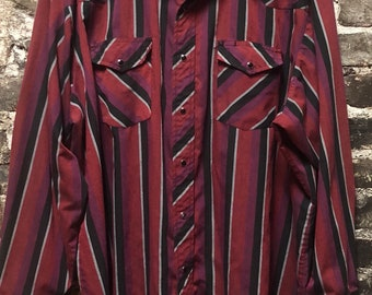 Vintage Wranger Men's Pearl Snap Distressed Thin Red & Black Western Shirt XXL
