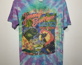 2008 Tour Jimmy Buffett & the Coral Reefer Band Tie Dye Distressed Tee Shirt M