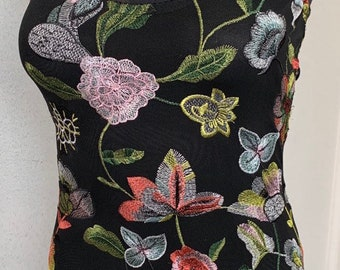 Azalea Sheer Floral Embroidered Colorful Black Sleeveless Bodysuit Leotard XS