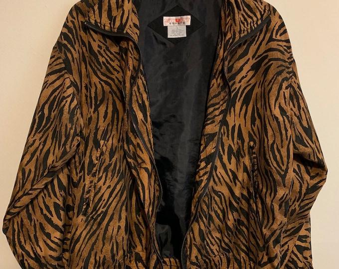 Featured listing image: Vintage Stunt Sports Zebra Safari Lightweight Bomber Windbreaker Silk Jacket S