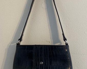 Vintage Liz Claibourne Vegan Leather Crocodile Pattern Shoulder Bag OS