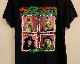 Vintage Poison Band Hair Metal Talk Dirty to Me Distressed Soft American Classics Tee M