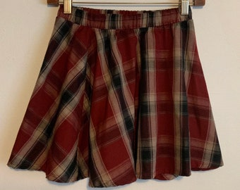 Brandy Melville Burgundy Plaid A-Line Mini Stretch Waist Skirt S