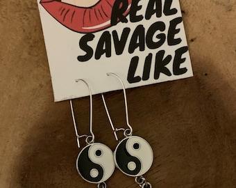 Real Savage Like Original Yin Yang Angel Wing Earrings OS
