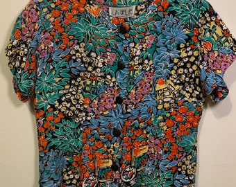 Vintage LA BELLE Cropped Bright Floral Short Sleeve Blouse Button Top Women's S/M
