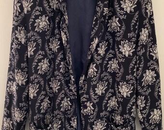 Vintage Talbots Floral Lightweight Throwover Blazer Size 10