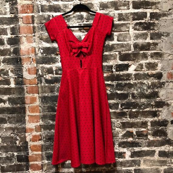 Pin Up Bettie Page Tatyana Red & Black Polka Dot Dress XS
