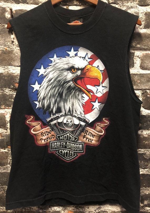 "Harley Davidson ""Ride Proud, Ride Free"" Eagle Muscle Tee Tank Top, Medium"