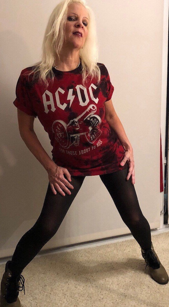 Distressed Vintage Tie Dye ACDC Super Soft T-Shirt Dress, Large.