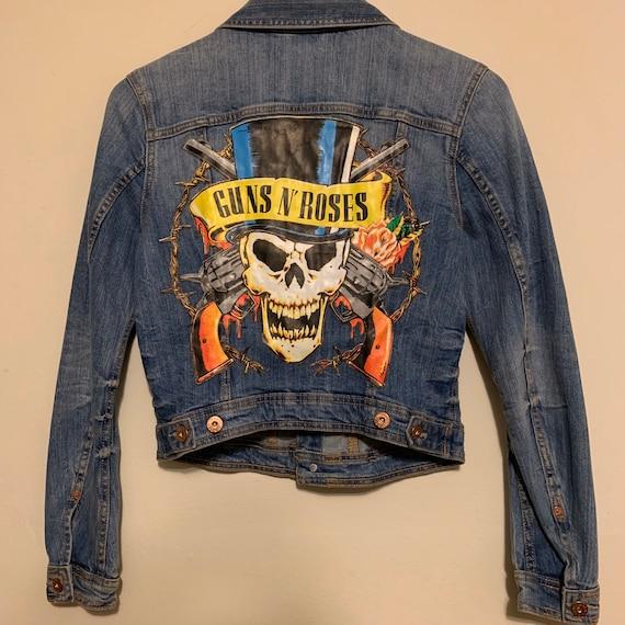 Real Savage Like Modified Women's Guns N' Roses Skull Denim Jean Jacket M