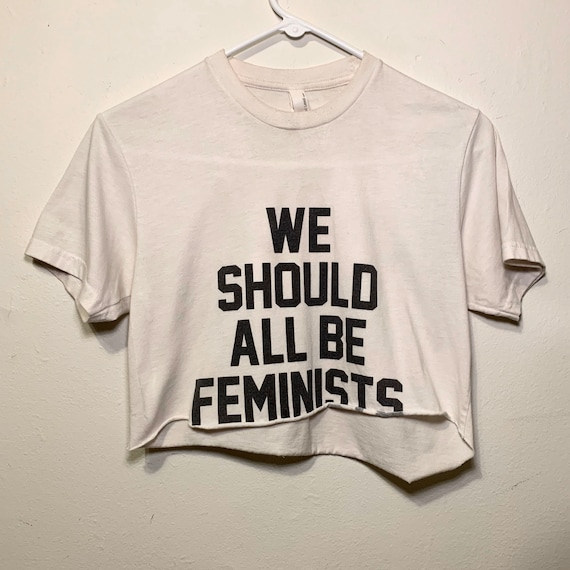Women's We Should All Be Feminists Cut Off Raw Hem Crop Top White Black Tee Shirt XS