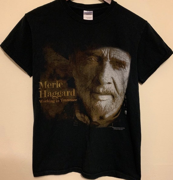 2011 Merle Haggard Working in Tennessee Album Distressed T-Shirt XS