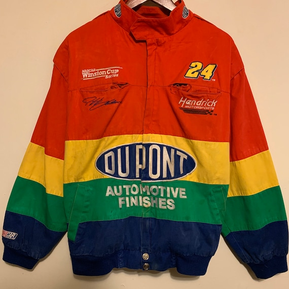Thrashed Vintage Chase Authentics Jeff Gordon DuPont Rainbow NASCAR Racing Jacket XL