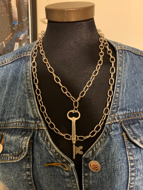 Real Savage Like Original 'Key Chain' Silver Double Chain Large Link Necklace