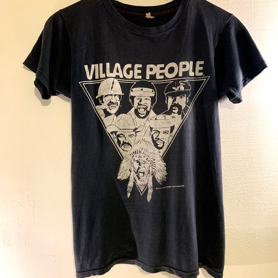 Rare 1979 Vintage Village People Disco YMCA Distressed Thin Black T-Shirt S
