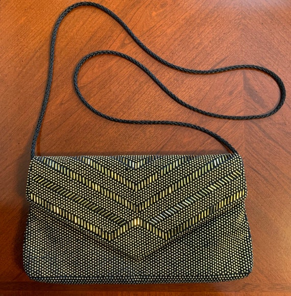 Small Gold Bead Cloth Cross Shoulder Evening Purse OS