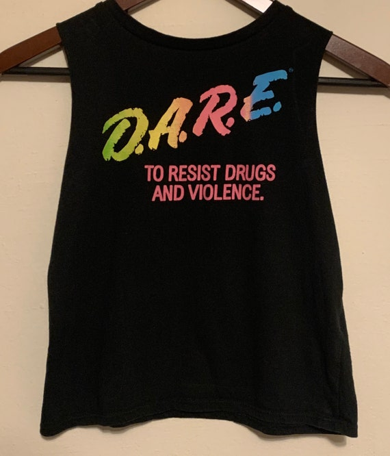 90s Vintage D.A.R.E. Dare to Resist Drugs and Violence Cut Off Tank Top Youth XL/Women's XS