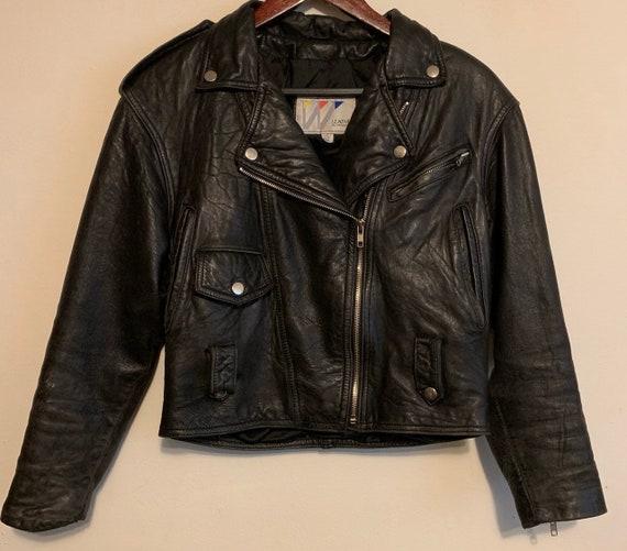 Vintage Wilson's Leather Distressed Black Motorcycle Jacket XS