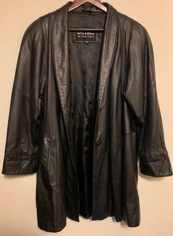 Vintage Wilson's Leather Black Overcoat Trenchcoat Duster S