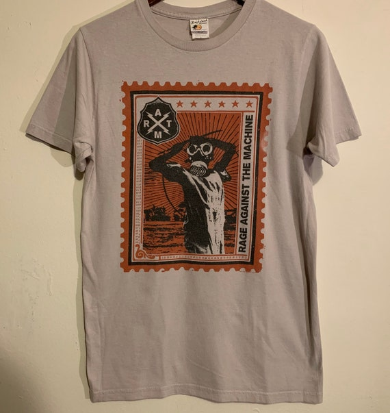 Rage Against The Machine Grey Red Postage Stamp Distressed T-Shirt M