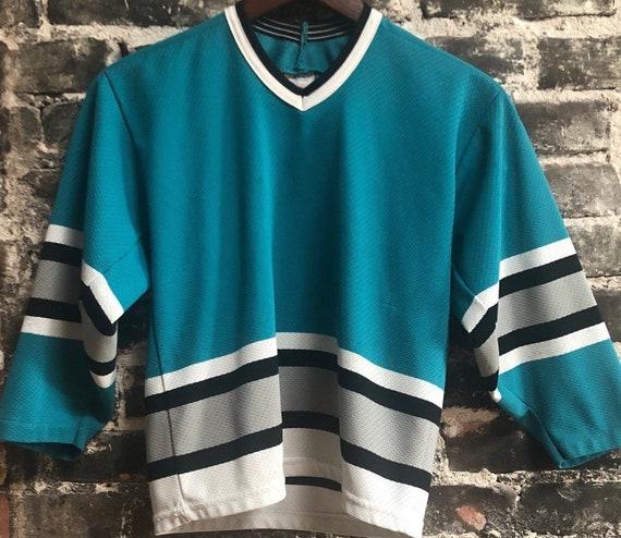 Vintage Plain Teal San Jose Sharks Hockey Jersey. Size Small.