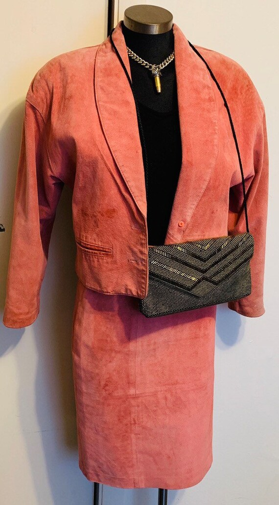 80s Vintage Lord & Taylor 2 piece Silky Pink Pig Suede Blazer Skirt Suit 4/6