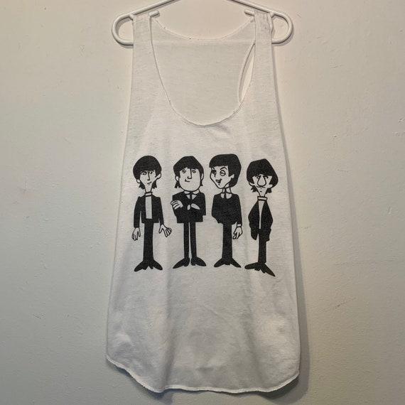 Women's Vintage The Beatles Cartoon White Racerback Thin Tank Top M