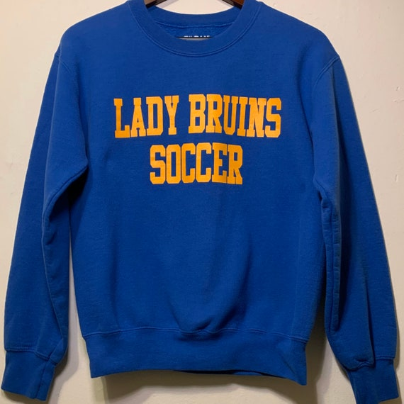 Vintage UCLA Lady Bruins Soccer Blue Yellow College Pullover Sweatshirt S