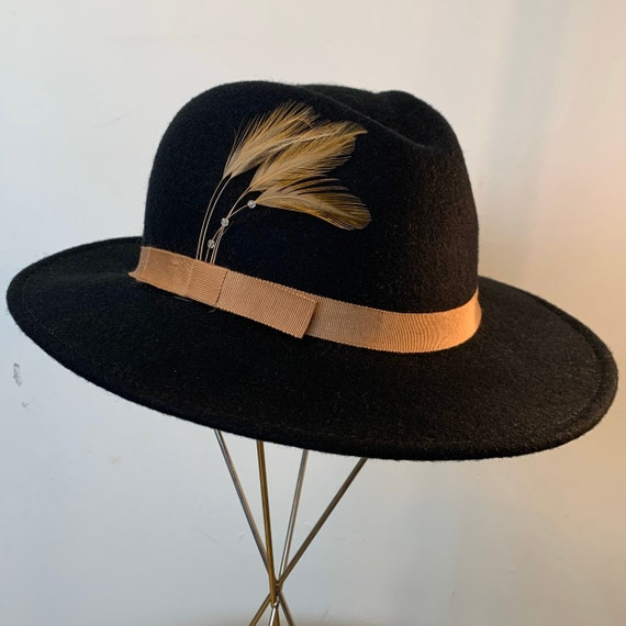 Vintage Black Felt Feather Brown Band Fedora Medium