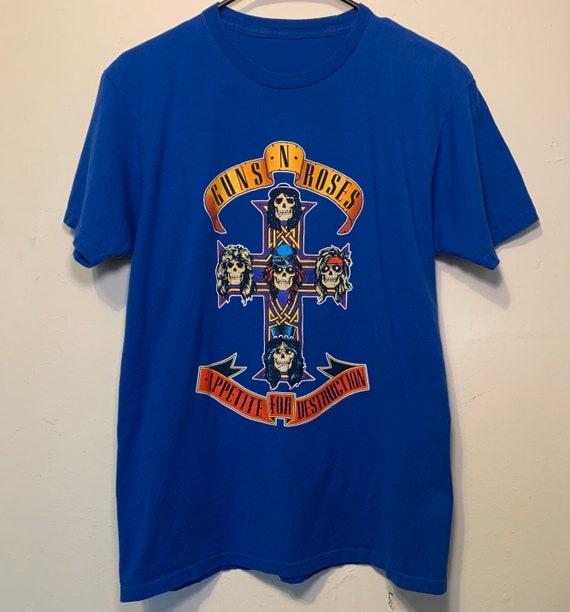 Vintage Guns N Roses Appetite for Destruction Reprint Super Soft Royal Blue Rock Tee Shirt M