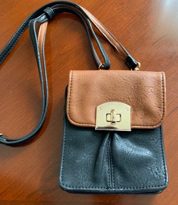 Noelle Two-Tone Black & Brown Vegan Leather Adjustable Strap Crossbody Purse