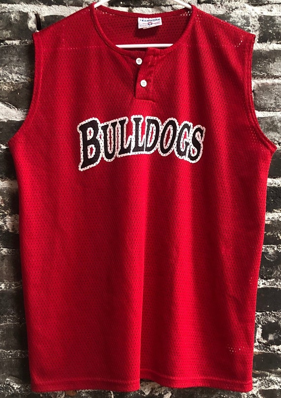 Vintage #9 Georgia Bulldogs Red Sleeveless Henley Mesh Jersey. Size XL