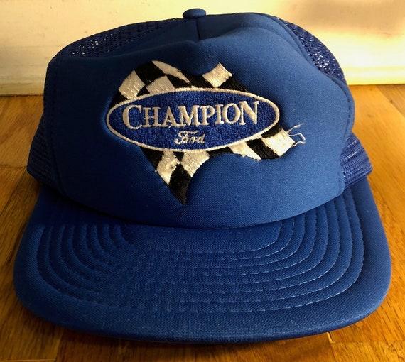 Vintage Thrashed Champion Ford Snapback Royal Blue Trucker Hat