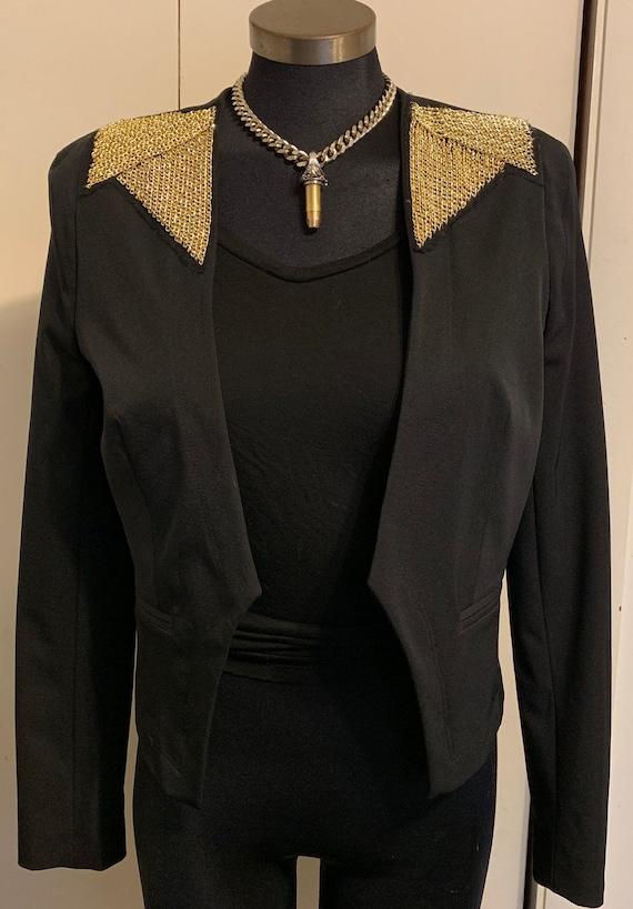 Women's Worthington Gold Chain Black Fitted Blazer S