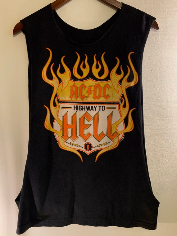 2000 Vintage AC/DC Official Highway To Hell Road Sign Flames Cut Off Tank Top M