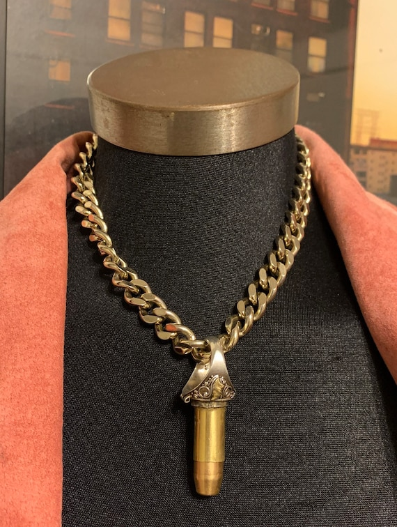 """Real Savage Like Original """"Sorry, I'm Taken"""" .45 Caliber Bullet Silver Ring White Gold Chain Hideaway Necklace OS"""