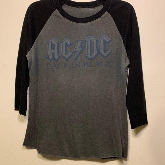 Vintage AC/DC Back In Black 1980-81 Tour Baseball Raglan Ringer Rock Tee Shirt S/XS