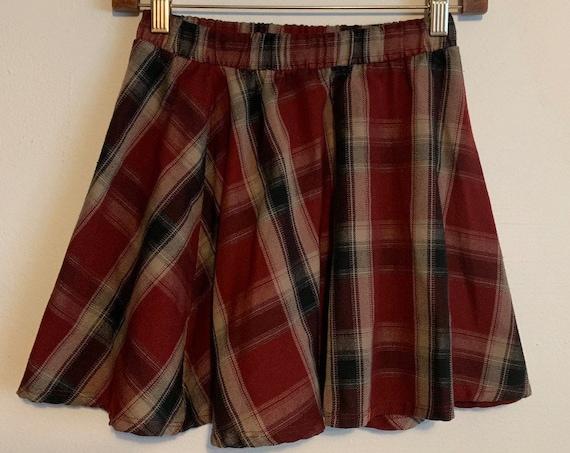 Brandy Melville Burgundy Plaid A-Line Mini Stretch Waist Skirt S
