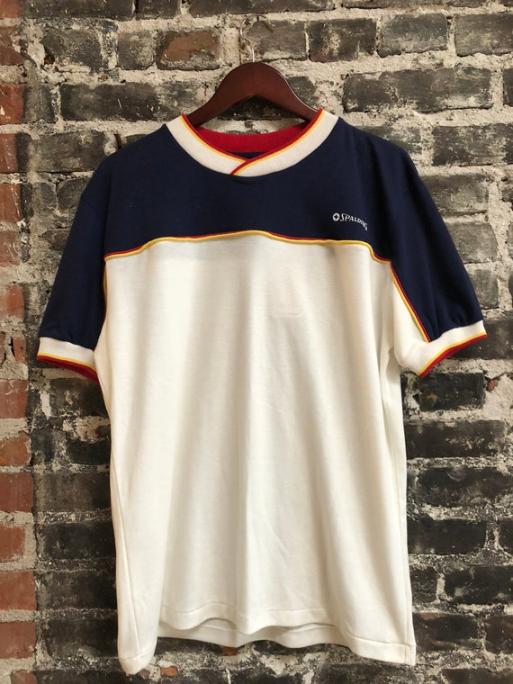 Vintage 1980s Spaulding Athetic Shirt Red White Blue Never Worn W/ Tags Large