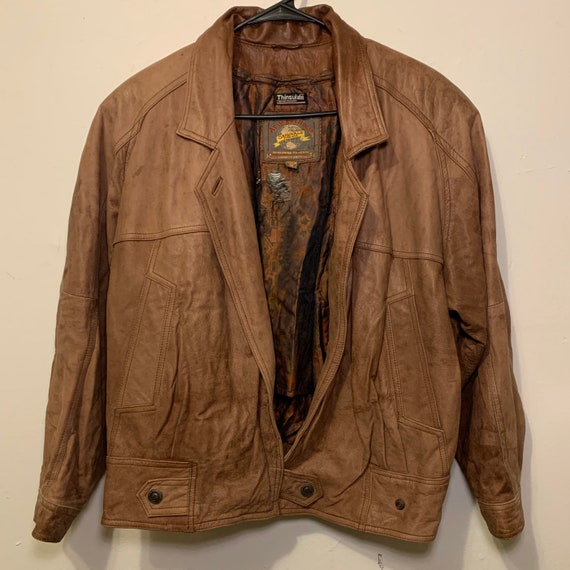 Women's Adventure Bound Originals Thinsulate Thermal Brown Leather Bomber Jacket M