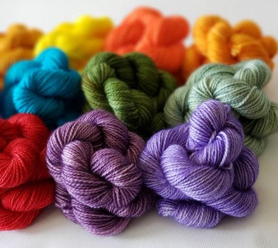 Hand Dyed Yarn/Superwash merino/nylon/Sock Yarn/Mini Skein/Tasting Kit - DYED TO ORDER