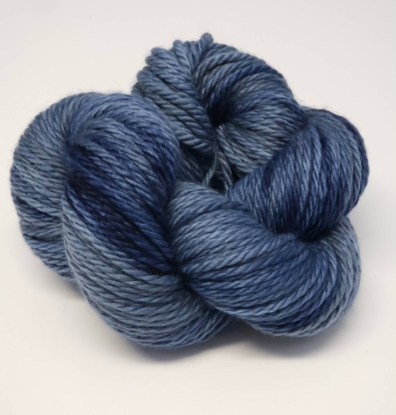 Hand Dyed Yarn/Superwash merino/Bulky /Denim- Dyed to Order