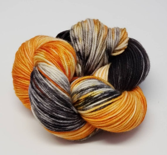 Hand Dyed Yarn/Superwash merino/DK /Tricky Treats- Dyed to Order