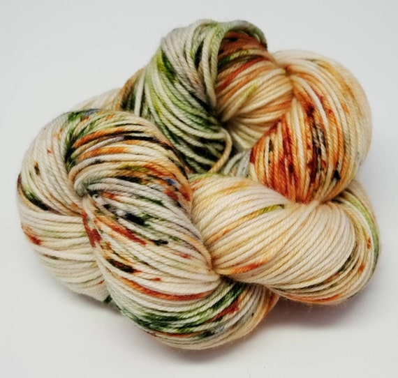 Hand Dyed Yarn/Superwash merino/DK /Dried Flowers- Dyed to Order