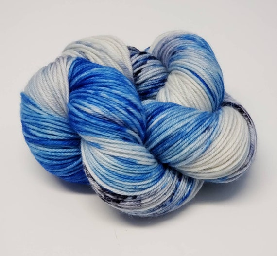 Hand Dyed Yarn/Superwash merino/DK /Jack Frost- Dyed to Order